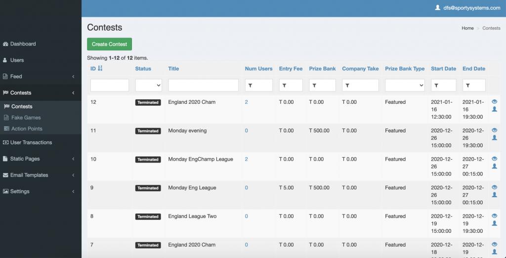 daily fantasy sports platform developed by Sporty Systems